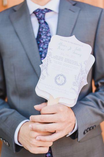 Romantic Pastels Wedding Fan
