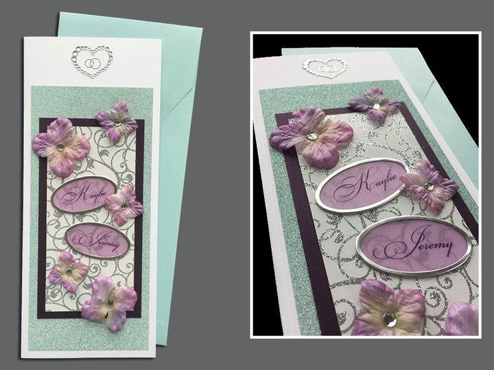 Tmx 1465103760472 Lilac Flowers Aqua Purple White With Names Cleveland, OH wedding invitation