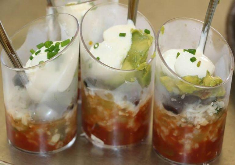Salsa, sour cream, and guacamole