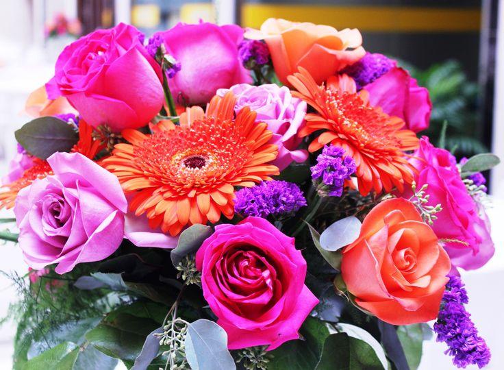 fuscia and orange bouquet