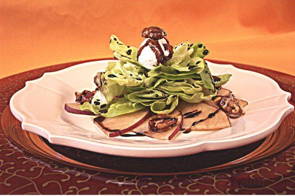 Culinary Artistry Signature Salad - butter lettuce, candied pecans, pears and goat cheese with a...