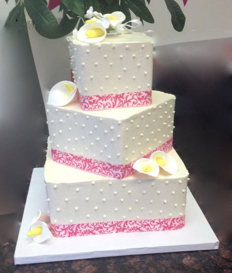 Three layered wedding cake