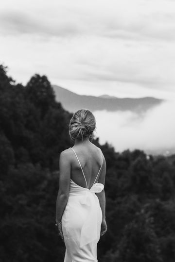 Beautiful bride in mountains