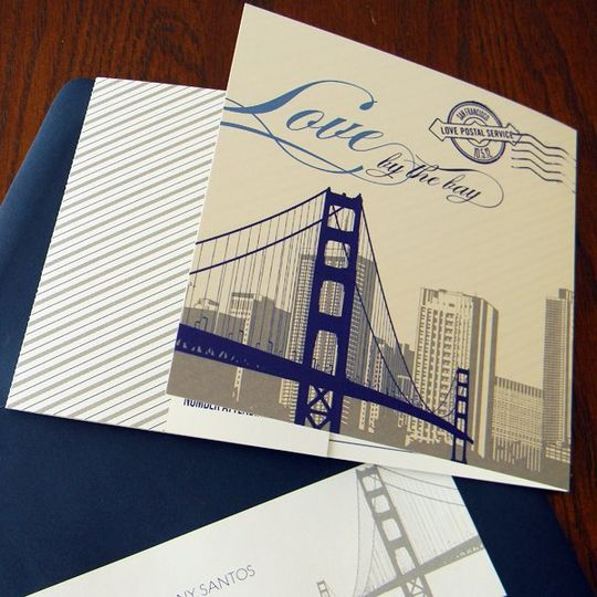San Francisco themed folded invitation. Navy and gray inks with navy envelope.