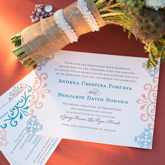 Orange and blue letterpress printed invitation