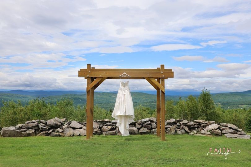 Bridal gown at ceremony site