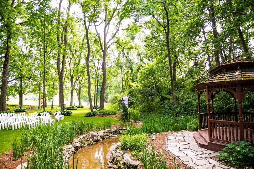Gazebo by the stream in the Cove at The Vineyard at Grandview
