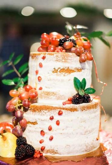 Semi-naked cake with caramel drizzle & fresh fruit