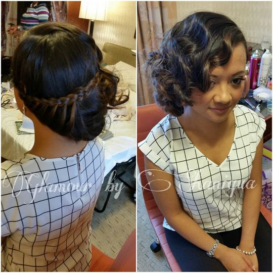 Front and back of updo
