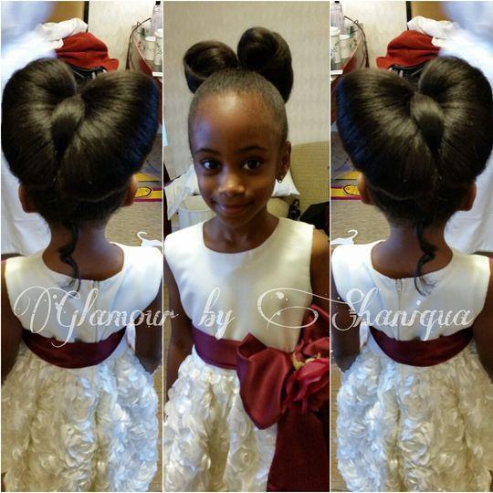 Angles of flower girl's hairdo