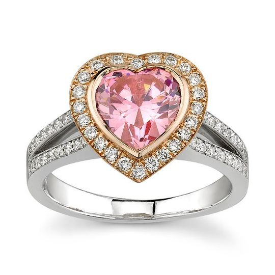 Beautiful Gold and Platinum Engagement Ring with Heart Shaped Pink Diamond with a Gold Halo set with...