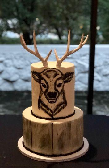 Hand Painted Deer Cake