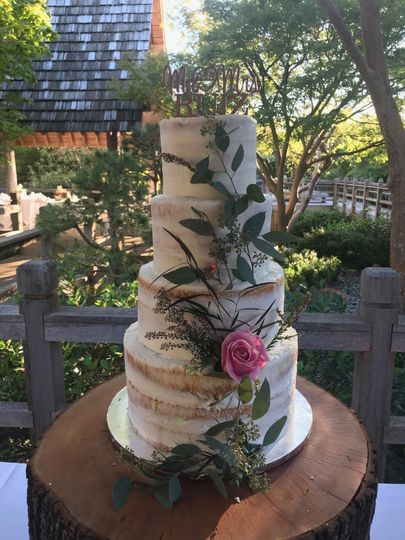 Naked White Cake with Floral