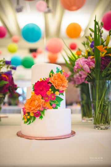 White cake with floral