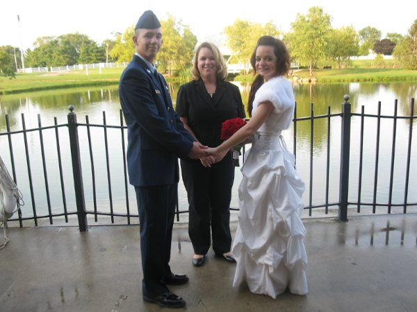 Photo of Reverend Tonya Duncan with the newlyweds Sarah and Sean Sept 2009