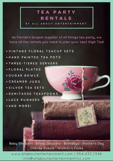 We have everything you could possibly need to rent for a tea party.
