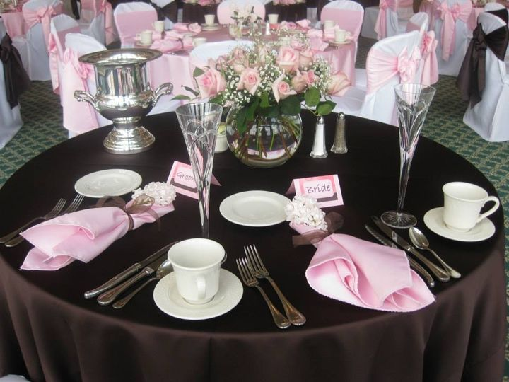 Black and pink table setting