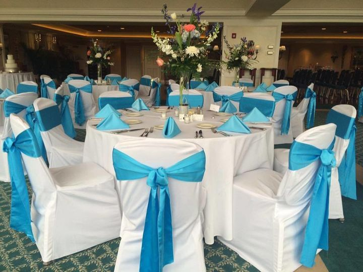 Blue chair ribbons