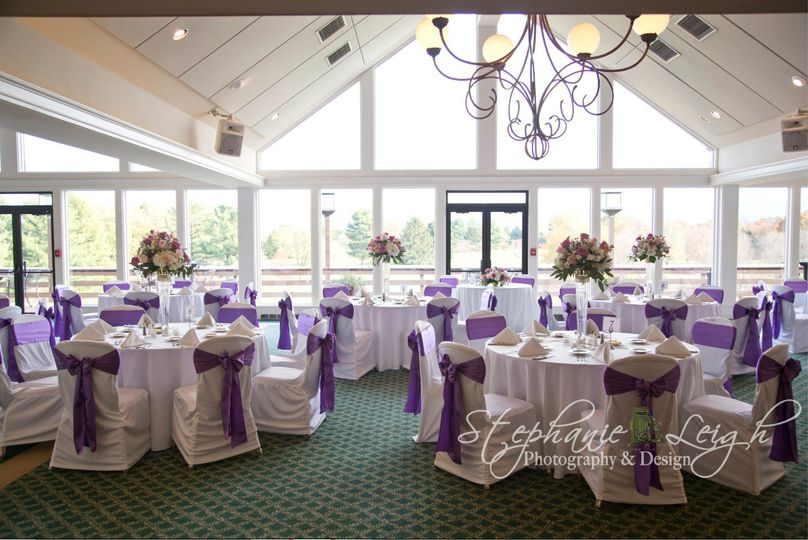 Reception hall with purple decor