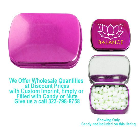 small rectangular fushia candy tin