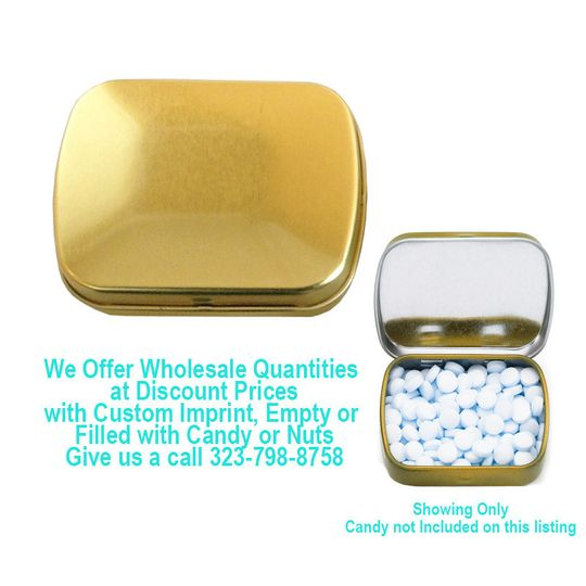 small rectangular gold candy tin