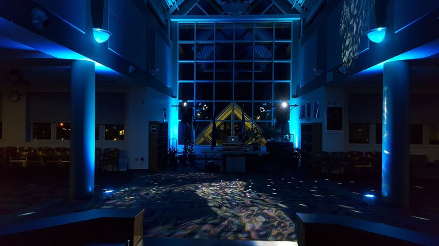 School function, Up-lighting, intelligent dance floor lighting, professional audio