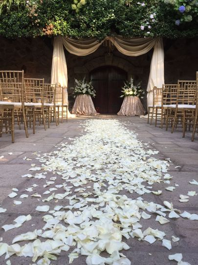 Aisle with white petals