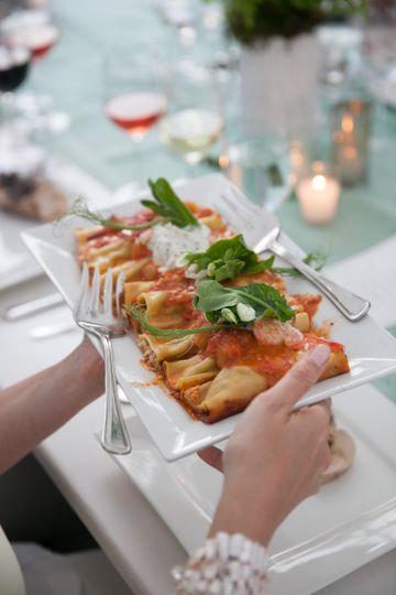 seafood cannelloni w lobster shrimp scallops cream