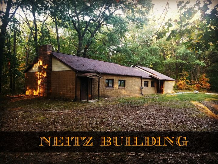 Neitz Building- Indoor dining hall with kitchen, restrooms & fireplace. Capacity 100