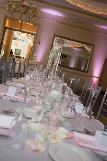 Long table with sparkling glass