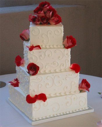 Layered cake with red roses