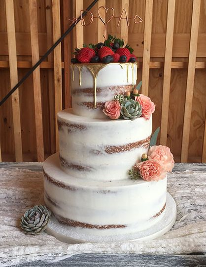 Half dressed wedding cake