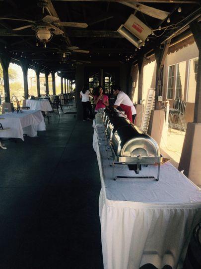 Long buffet table