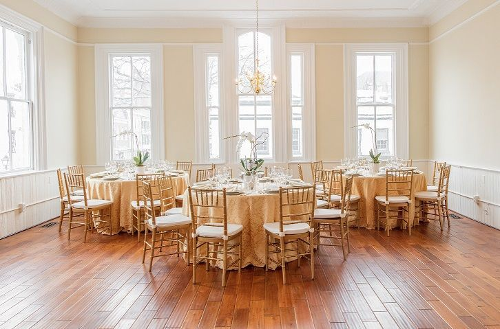 Originally a hotel ballroom in 1880, we worked with Design Cuisine to stage this event.  The light...