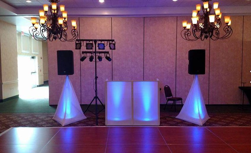 Dj lightning and ballroom setup
