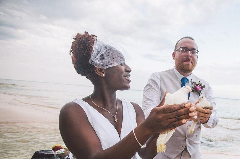 Bride holding a dove