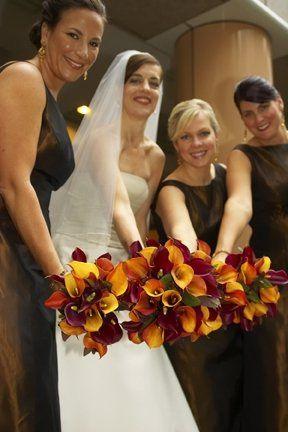 Autumn callas for bride and bridesmaids