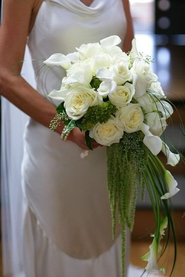 Cascading bouquet of white callas and roses