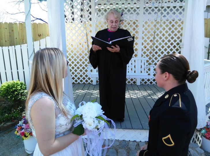 Officiating the wedding ceremony