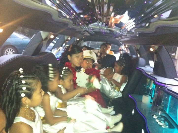 Children inside the limo