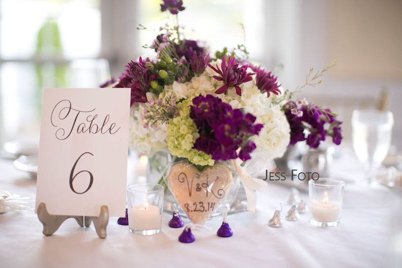 Table centerpiece with table number