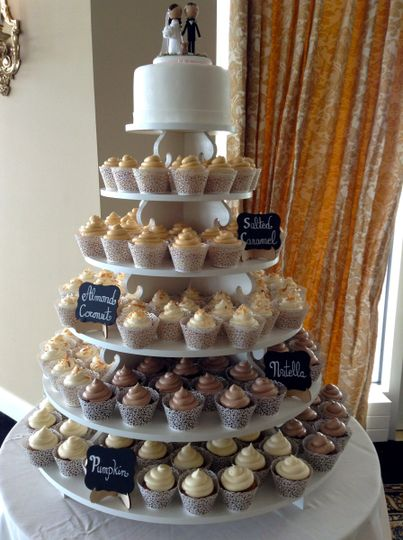 Lace Wrapped Cupcake Tower