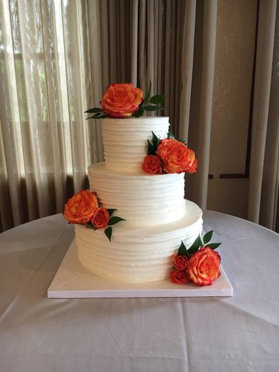 Rustic Buttercream Wedding Cake with Fresh Florals