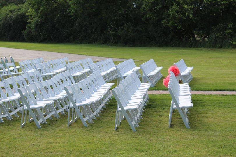 Wedding ceremony chair setup