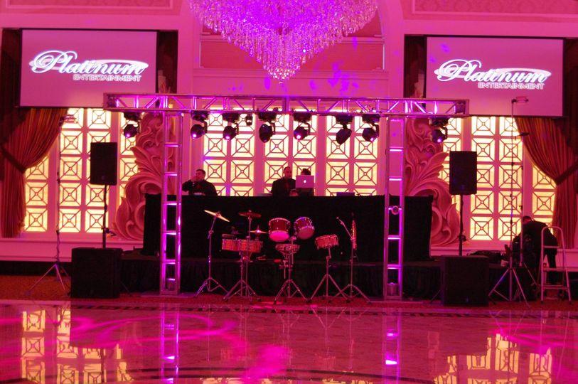 Pink lighting and band setup