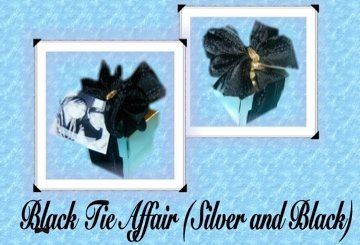 Beautiful Black Bow with Shiny Silver Cube Box.