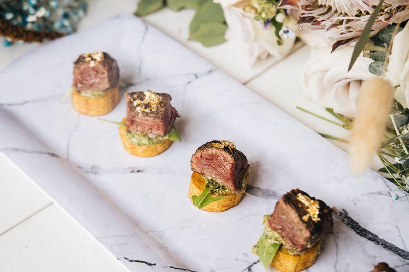 Grilled steak - plantain bites