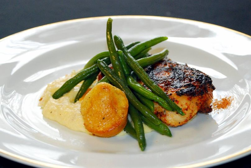 Cajun Chicken with Cheddar Grits, Buttered Green Beans and Mini Cornbread Muffins