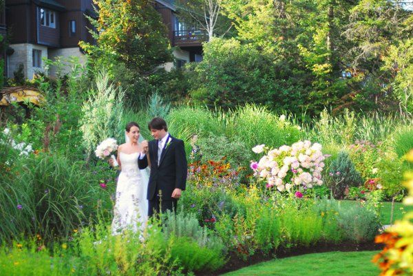 Newlyweds walking around the grounds