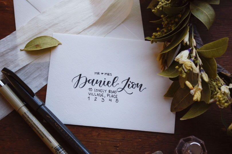 Mixed envelope addressing -- modern calligraphy stands out against block print.